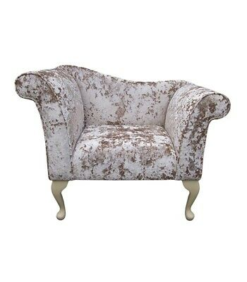 "37"" Small Chaise Longue Lounge Seat Armchair Arm Chair Opal Fabric Queen Anne UK"