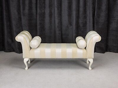 "56"" Large Chaise Longue Lounge Sofa Day Bed Seat Chair Gold Fabric 2 Bolsters UK"