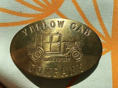 Vintage Antique Brass Yellow Cab Company Hat Badge Pin Taxi Cab