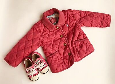JOULES & CONVERSE Baby Girls Pink Jacket & Shoes-Size 9-12 Months-VGC