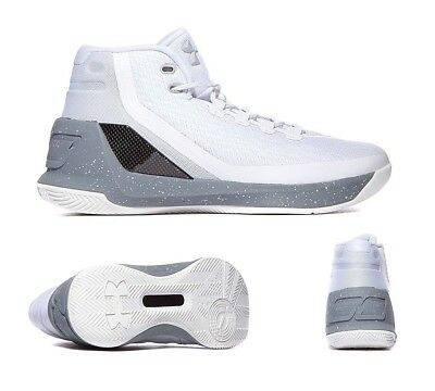 Mens Under Armour Curry 3 Domino White/Silver Trainers (PF27) RRP. £139.99