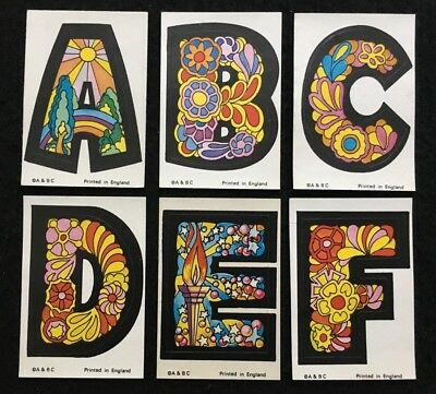 A&BC 1970 Love Initials 6D Stickers A to Z Minus Letters V W and Y - Very Good