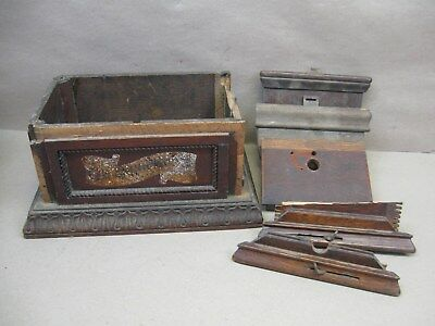 Vtg Columbia Cylinder Phonograph Player Case Wood Parts Box Trim Lid Lock Clips