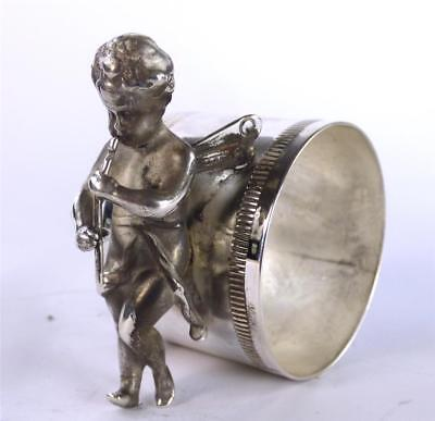 Antique Wmf Silver Plate Plated Napkin Ring Musical Cherub Figure