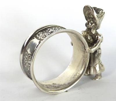 Antique American Silver Plate Plated Napkin Ring Young Girl Figurine