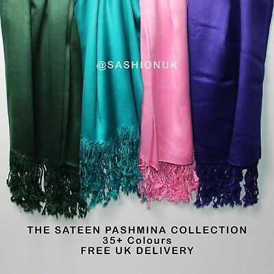 Sateen Pashmina Scarf Satin Silk Shawl Evening Wrap Sheen Party Hijab 35 Colours