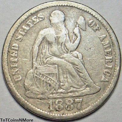 1887 10c Seated Liberty Dime Silver Higher Grade Old US Collectible Coin