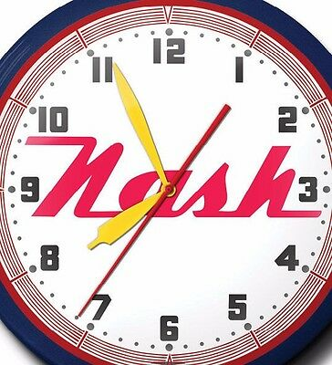 Nash Automobile Neon Wall Clock Hand Made USA 20 Inch Red White Blue Game Room