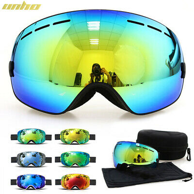 Men Women Ski Goggles Professional Snowboard Snowmobile Over Glasses Anti Fog UV