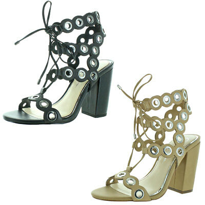 159fef274e9 DOLCE VITA WOMENS Howie Studded Heels Gladiator Sandals Shoes BHFO ...