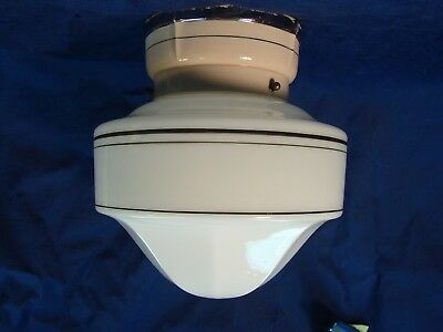 Antique Vintage Porcelier Ceiling Light Fixture With Unusual Shade Pretty!