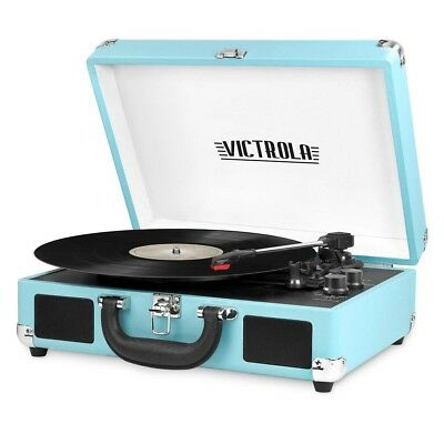 victrola record player Teal