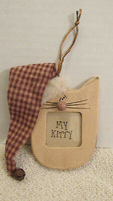 """My Kitty Cat Picture Frame Ornament~Primitave look Wood~Beige Ivory 3.5"""""""
