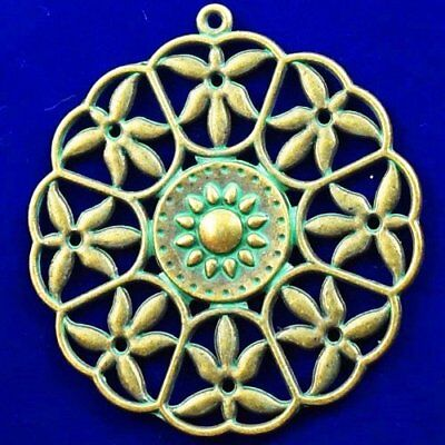 Carved Bronze Brass Flower Pendant Bead 43x2mm X75594