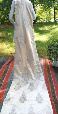 1910 Opulant Silk Satin And Silver Lame Wedding Train W/silver Tinsel Florals