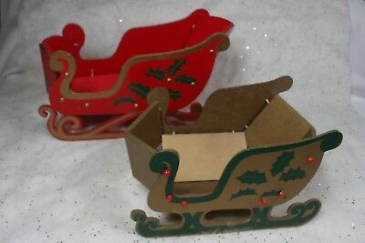 Vintage Wooden Folding Christmas Sleigh Wood Fold Down Japan Lot of 2
