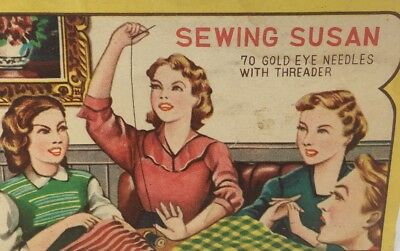 Sewing Susan Gold Eye Needles in  Package with Threader Vintage Graphics Notions