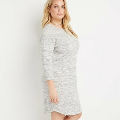 c91d367e6bf Forever 21 Plus Women s Heather Grey Marled Knit Sweatshirt Dress Size XL