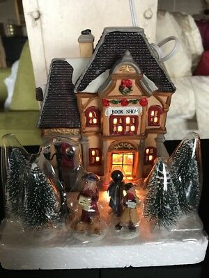 New - HOLIDAY TIME VINTAGE VILLAGE BOOK STORE PORCELAIN LIGHTED HOUSE