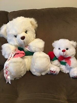 Lot Of 2 White Teddy Bears W/ Flowers Valentine's Day Plushes