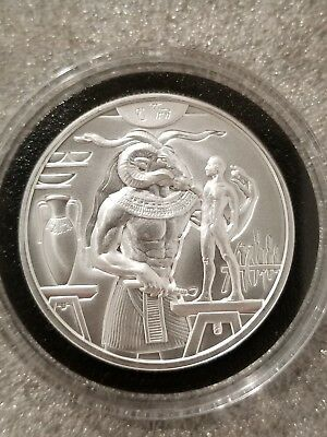 2 oz .999 silver Khnum Egyptian Ram God high relief Art round 3d Nile River NEW!