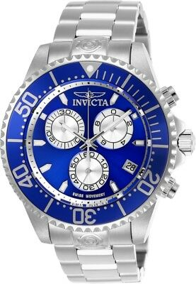Invicta 26847 Pro Diver Men's 47mm Chronograph Stainless Steel Blue Dial Watch