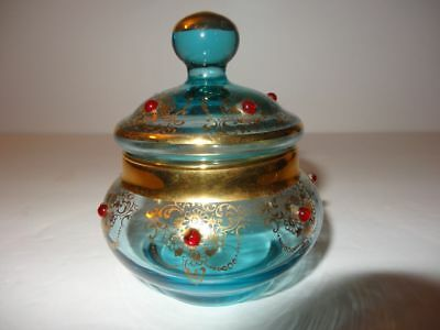 Blue Glass Jar with Cover Gold & Red Design