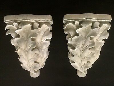 Large One Pair of Ornate Leave Curtain Rod Sconces Shabby-Vintage Style