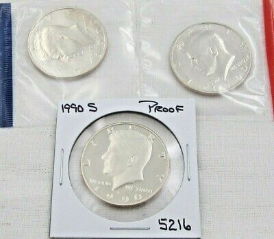 1990 P D & S Kennedy Half Dollar Set - PD Mint Cello / S Proof - 3 coins (5248)