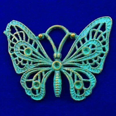Carved Brass Bronze Butterfly Pendant Bead 48x36x32mm L89294
