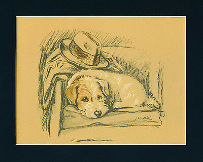 Dog Print 1940 Sealyham Terrier by Lucy Dawson laying on a Chair VINTAGE