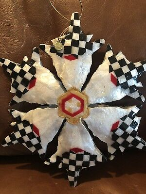 Retired! New Mackenzie Childs Capiz Ornament Courtly Check Snowflake 4 Avail!
