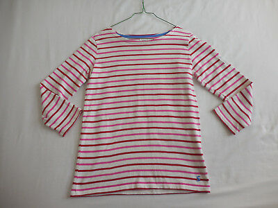 Joules Mariners Grade White Pink Striped Top UK 8 ❤