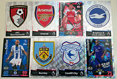 MATCH ATTAX 2018/19 18/19 cards #  1-90 Arsenal Cardiff Burnley Brighton Bourne