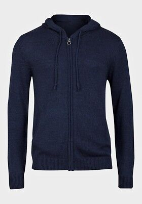 Ex Chain Store Mens Navy Zip Up Hooded Cardigan With Pockets M,L,Xl,Xxl Free P&P