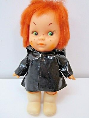 Vintage 1960's 7 Inch Red Head Doll With Black Raincoat Made In Japan