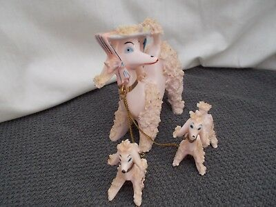 Vintage Set 3 Spaghetti Pink French Poodle Dog Family Porcelain Puppy Figurine