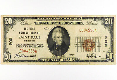 1929 $20 First National Bank of Saint Paul, MN - Type I
