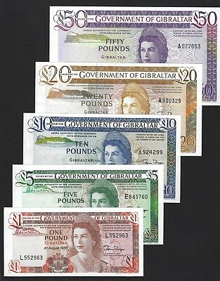 1986 1988 Gibraltar 1-5-10-20-50 Pounds Complete Set, AU to UNC, P-20-24 Scarce