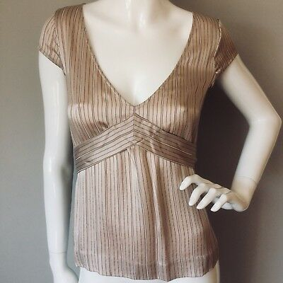 Stunning 'FRENCH CONNECTION' Blush Pink Silk S/sl Top Size UK 6 RP £95 fits 6-8