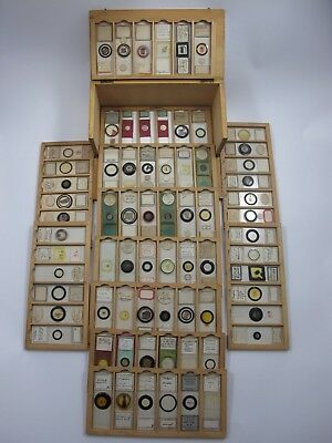 Cased collection of 72 Antique Microscope Slides.