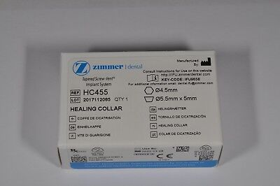 Zimmer Tapered Screw-Vent Implant System - Healing Collar - HC455 - NEW WITH BOX