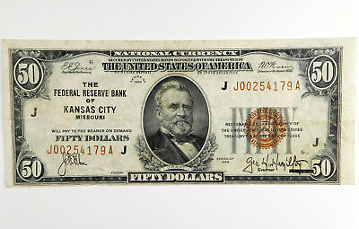 1929 $50 Federal Reserve Bank of Kansas City Note - J00254179A