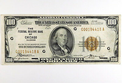 1929 $100 Federal Reserve Bank of Chicago Note - G00194418A