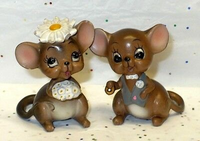 Josef Originals Bride & Groom Mouse Mice Figurines From Mouse Village Series