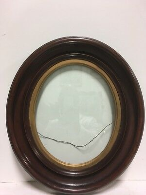 """ANTIQUE 19th Century OVAL WALNUT PICTURE FRAME with Gilt Liner 1880 Fits 10""""x12"""""""