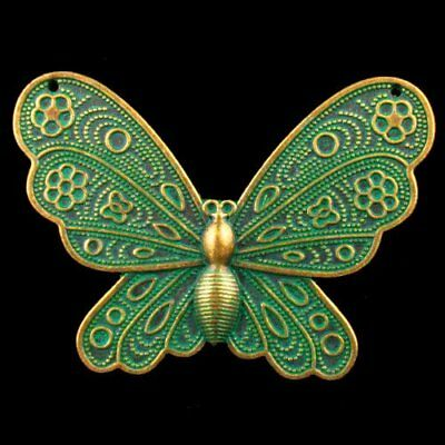 60x45x3mm Carved Bronze Brass Butterfly Pendant Bead YDLHUD1