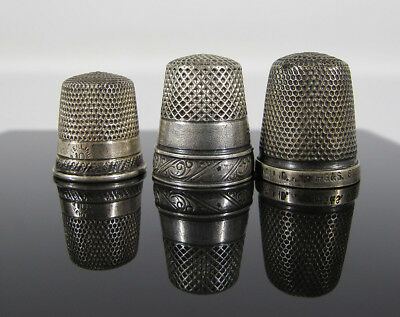 Estate Mix Collection of (3) Antique Sterling Silver Sewing Thimbles THE SPA yqz