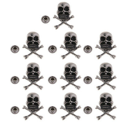 10 Sets Metal Skull Studs Rivets Nailhead for Leather Crafts DIY Accessories