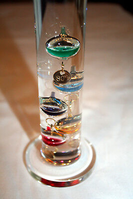 """Indoor Glass Galileo Thermometer, 12"""" high, 64 - 80 Degrees Fahrenheit"""